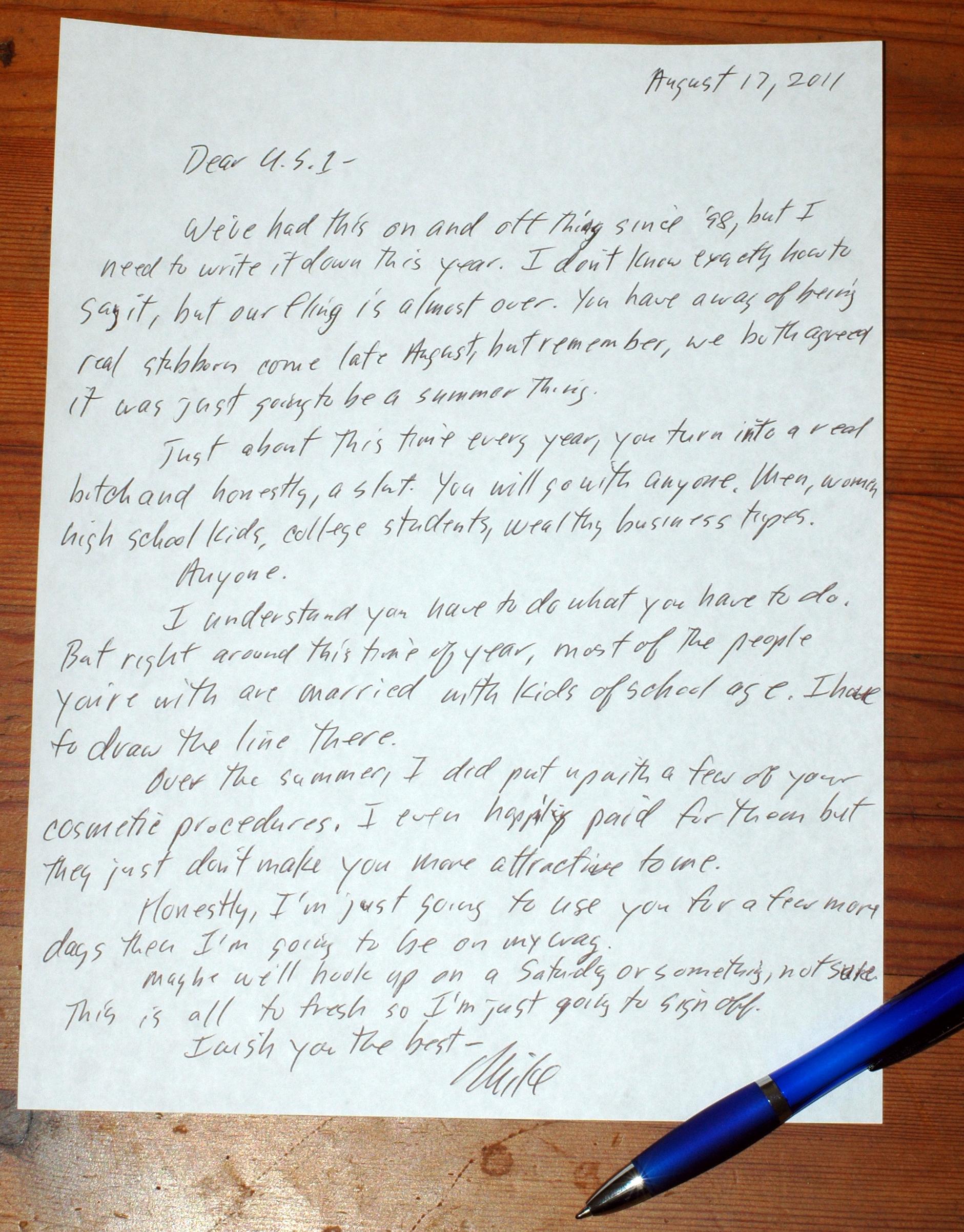 breakup letters – Mike LaMonica\'s Blog